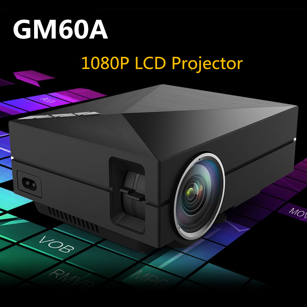 GM60A Portable LCD Projector 1000 Lumens 800x480 pixels 1080P Multimedia Player Home Theater Projectors with AV,HDMI,USB Port fishing soft lure screw t tails 75mm 2g long tail fish bait lot 3 pieces