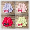 2015 Moda Bebê Vestido de Roupa Dos Bebés Outono Crianças Polka Dot Vestido Crianças Manga Longa Meninas Vestem Bowknot Mickey Sacos