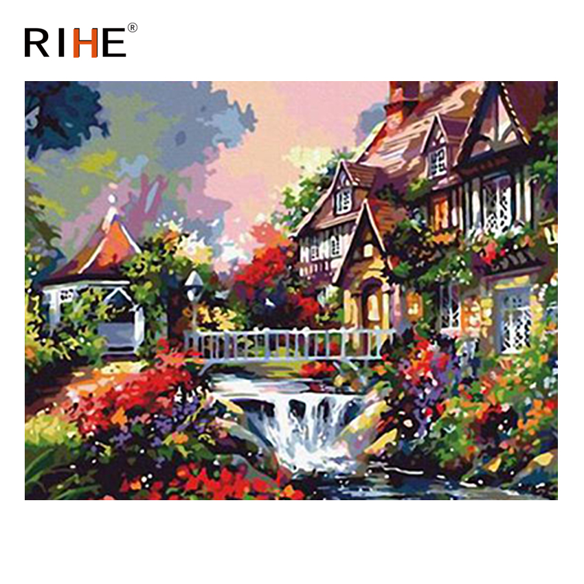 RIHE River House Diy Painting By Numbers Abstract Garden