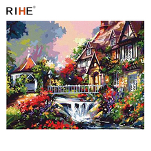 RIHE River House Diy Painting By Numbers Abstract Garden Oil Painting On Canvas Cuadros Decoracion Acrylic Wall Picture For Room rihe seaside house diy painting by numbers abstract lighthouse oil painting on canvas cuadros decoracion acrylic wall picture