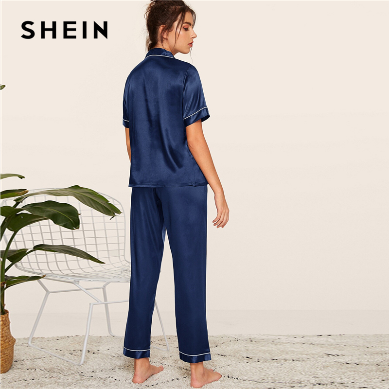 Image 2 - SHEIN Navy Letter Embroidered Satin Pajama Set Short Sleeve Long Pants Pajamas for Women Sleepwear Casual Ladies Pajama Sets-in Pajama Sets from Underwear & Sleepwears