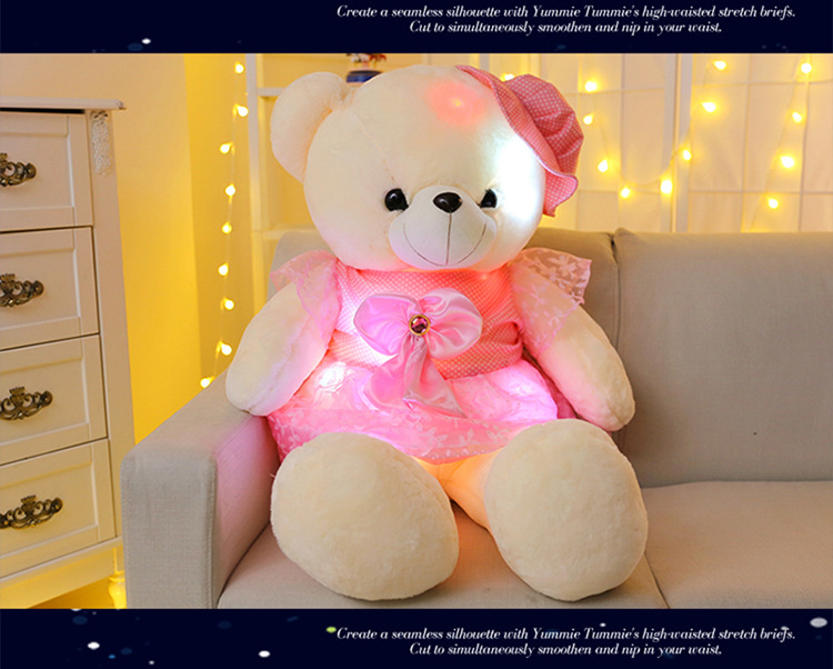 50cm Stuffed Plush Toys Led Colorful Glowing Teddy Bear For Kids Night Light Cute Lovely Soft Bear In <font><b>Dress</b></font> Gifts Birthday <font><b>Party</b></font> image