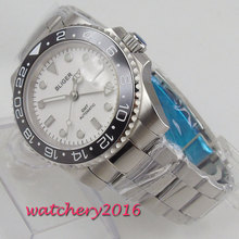 цена 40mm Bliger White Dial Sapphire Glass LUME Luxury Brand GMT Date Black Bezel Automatic Mechanical Watches relogio masculino Gift онлайн в 2017 году