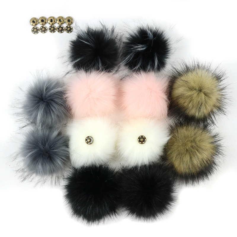 Diy fofo de pele falsa pom pom bola 8cm artificial pompom pele com botão imprensa para chapéu chaveiros acessórios decorado bola