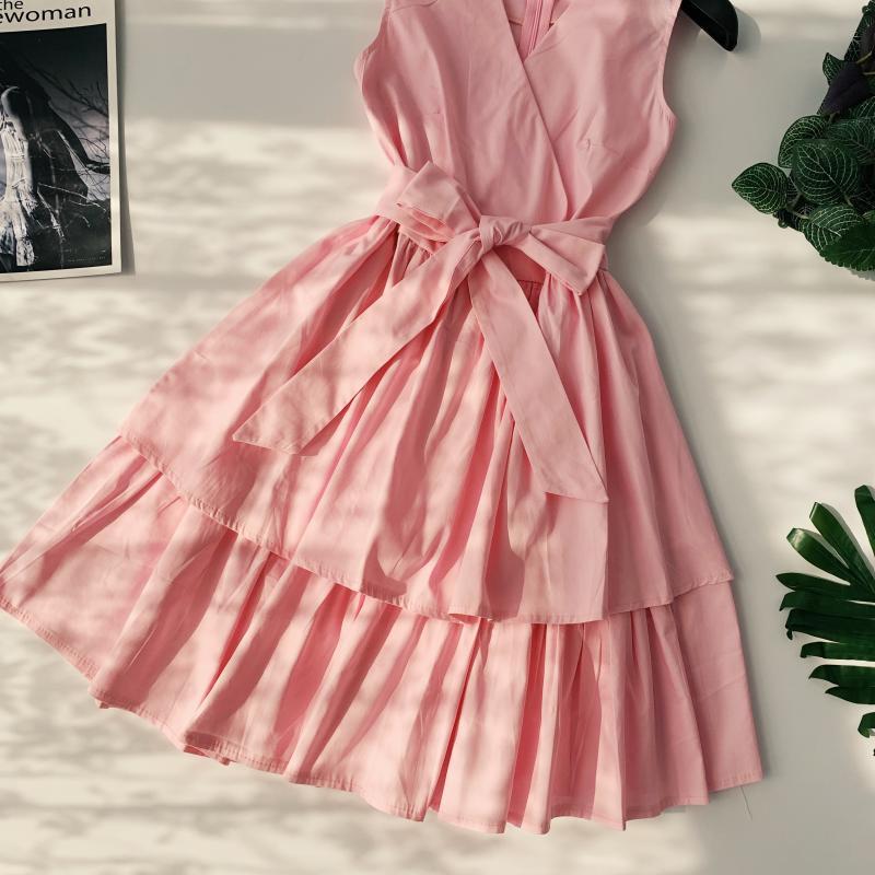 Korean Vintage Pure V Collar Sleeveless High Waist Bow Tie Double Ruffle Holiday Dress Women Vestidos E348 83