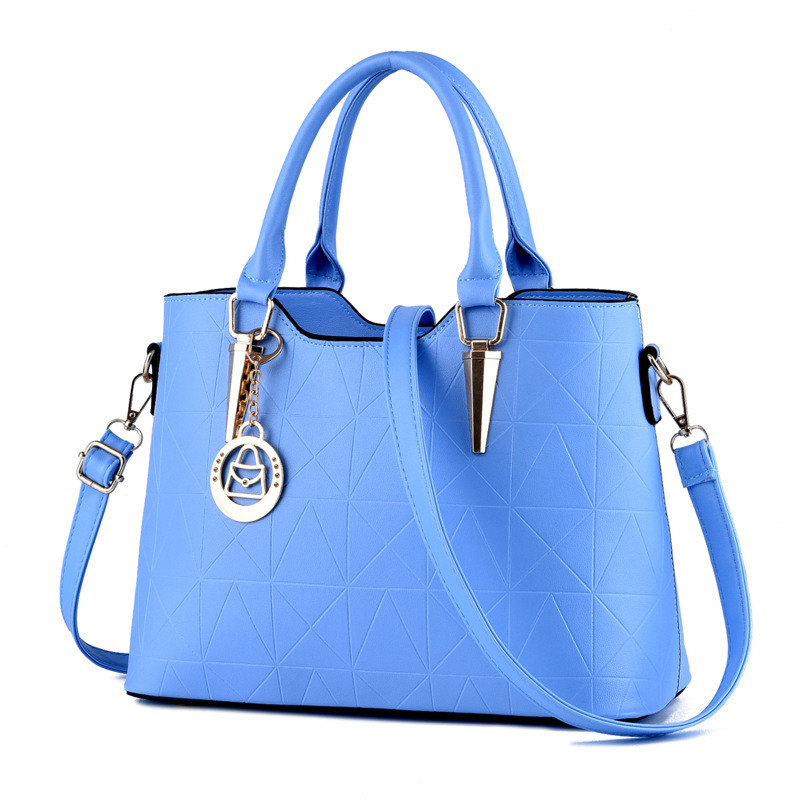 Elegant Women Handbag Casual Light Blue PU Office Lady Shoulder Bag Tote Crossboday Messenger Zipper fashion soft pu office lady handbag shoulder bag women tote bucket bag crossbody messenger zipper