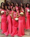 Mermaid 2016 Lace Bridesmaid Dresses Off The Shoulder Vestido Chiffon Hot Pink Bridal Wedding Party Dress Gowns Vestido De Festa