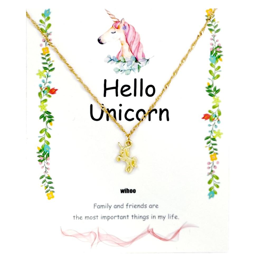 Unicorn Necklace Card Pendant Wihoo Horse Women Pendant Children Girls Cute Fashion Jewelry Gift Kids Enamel Party Gold 5