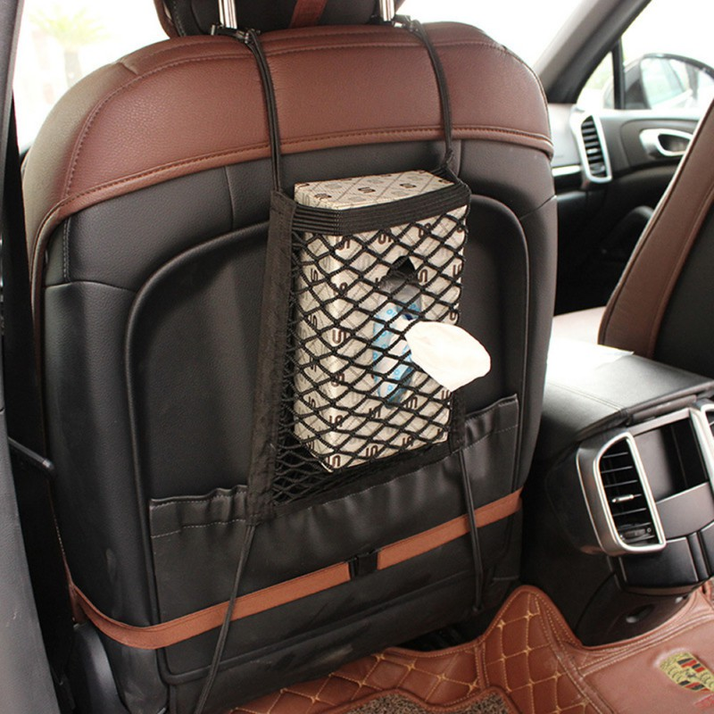 30*25cm Car Organizer Seat Back Storage Elastic Car Mesh Net Bag Between Bag Luggage Holder Pocket for Auto Vehicles image