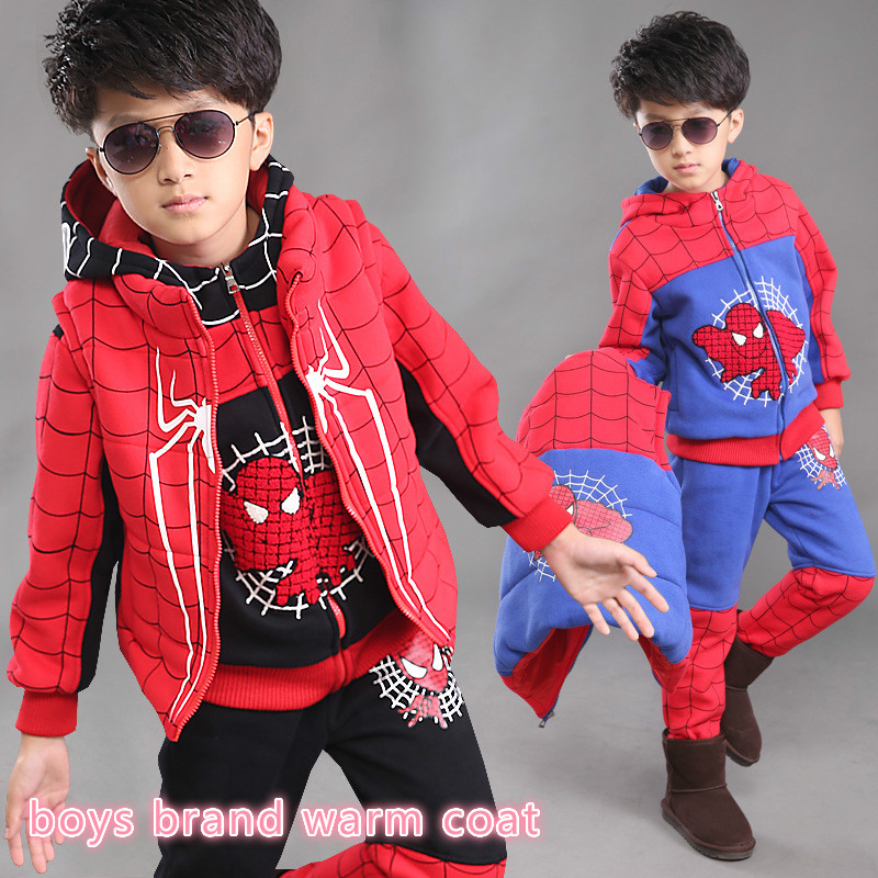 New baby suit clothes for boys 3-14 year kids boy winter coat jacket boys brand spider man warm coat+vest+pant 3 pieces 26155b