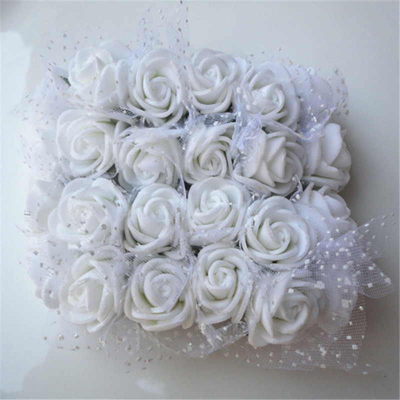 12pcs/lot Mini Artificial Rose Flowers Party Wedding decoration for home PE Foam flowers wreaths Artificial 2-2.5cm Head 6z