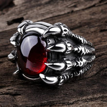 Dragon Claw Retro Punk Goth Big Black Red Stone Men's Alloy Cast Ring Gothic Punk Men Bijoux Men's Big Stone Ring Gem Red(China)