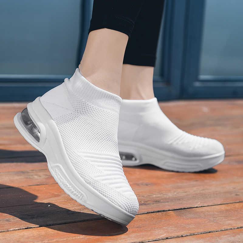 Polali Nieuwe Hoge Top Platform Sneakers Vrouwen Glitter Enkellaarsjes Sok Schoenen Vrouw Unisex Vader Chunky Sneakers Zapatos De Mujjer