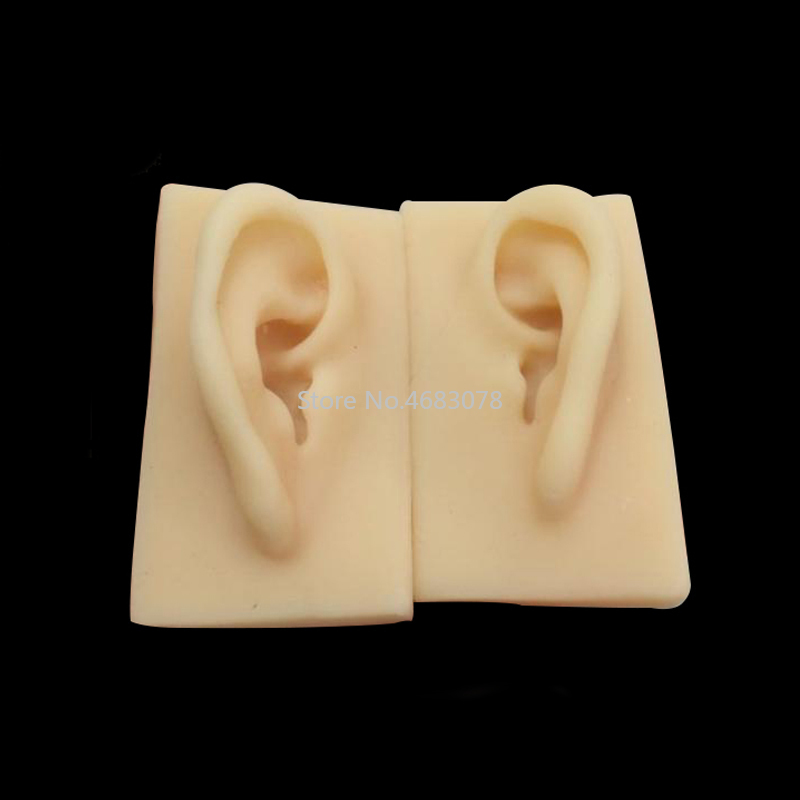 2 Pcs Medical Science Accessories Human Soft Silicone Ear Model Life Size Acupuncture Study Practice Tool 1:1 Life-size