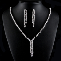 UILZ Shinny White Cubic Zircon Drop Earrings And Necklace Bride Jewelry Set Wedding Dress Accessaries US433