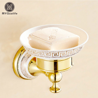 Global Free Shipping Golden & Ceramic Soap Dishes Wall Mount Bathroom & Kitchen Soap Holder/Rack