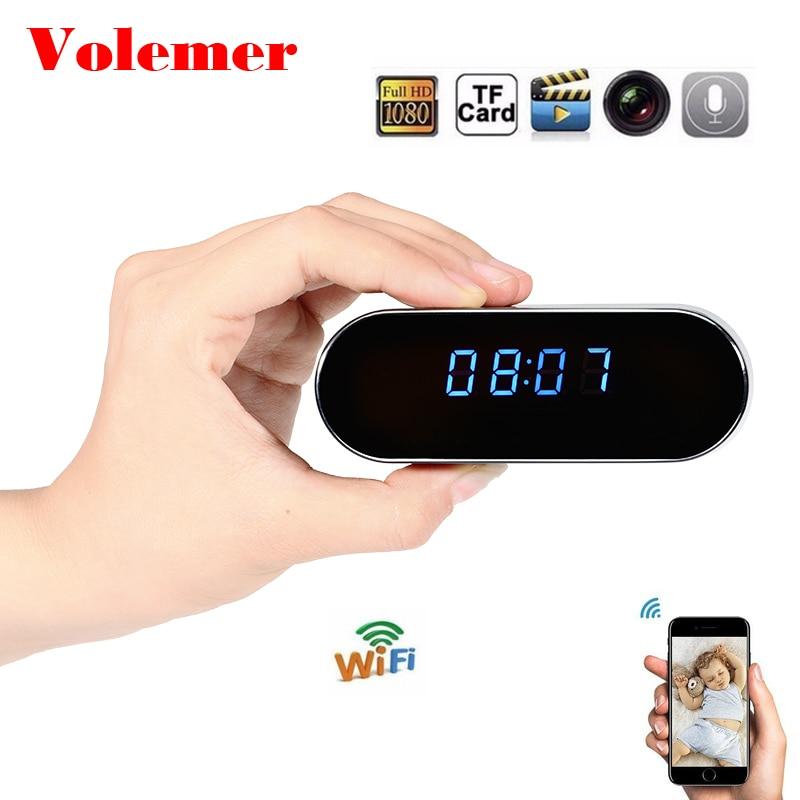 Volemer H.264 Wifi часы мини камера Настольный Будильник Настройка макро видеокамера Поддержка Макс 32 г TF карта DV DVR маленькая IP мини камера