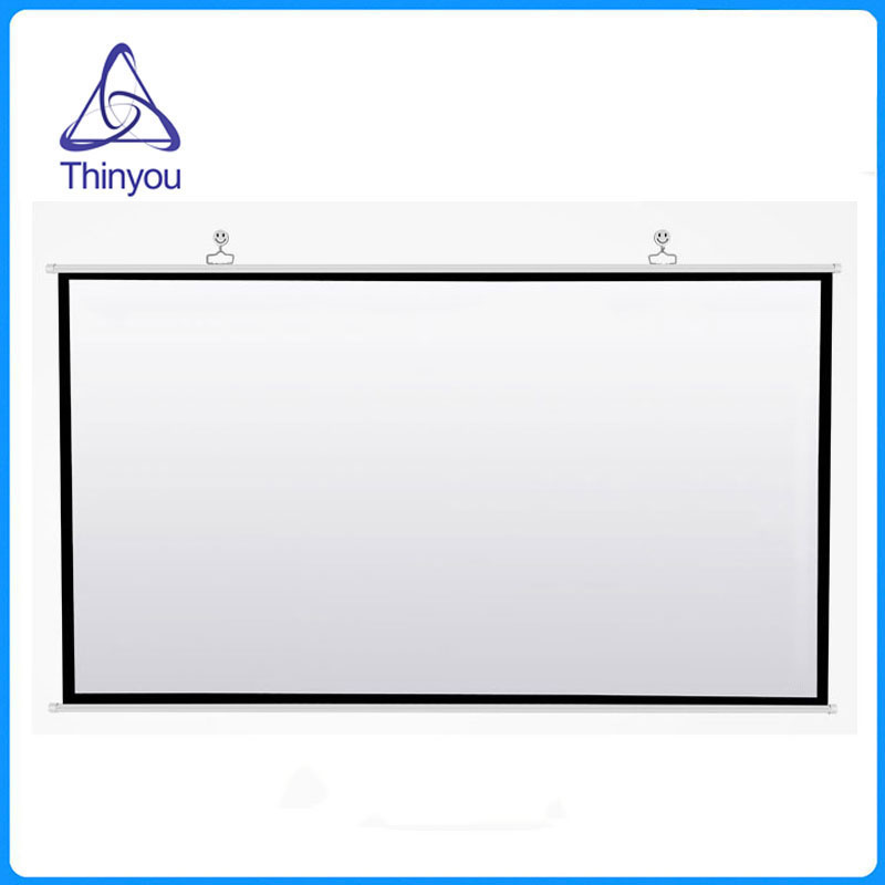 Thinyou Projector Screen 72 inch 16:9 Matte White Fabric Fiber Glass for Projector Outdoor Indoor for Home Theater Full HD 3D