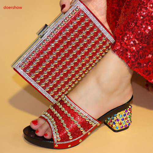 doershow Italian Ladies Shoe and Bag Set African Shoe and Bag Set for Party In Women Nigerian Women Wedding Shoes!SPR1-6 doershow shoe and bag to match italian african shoe and bag sets women shoe and bag to match for parties african shoe htx1 18