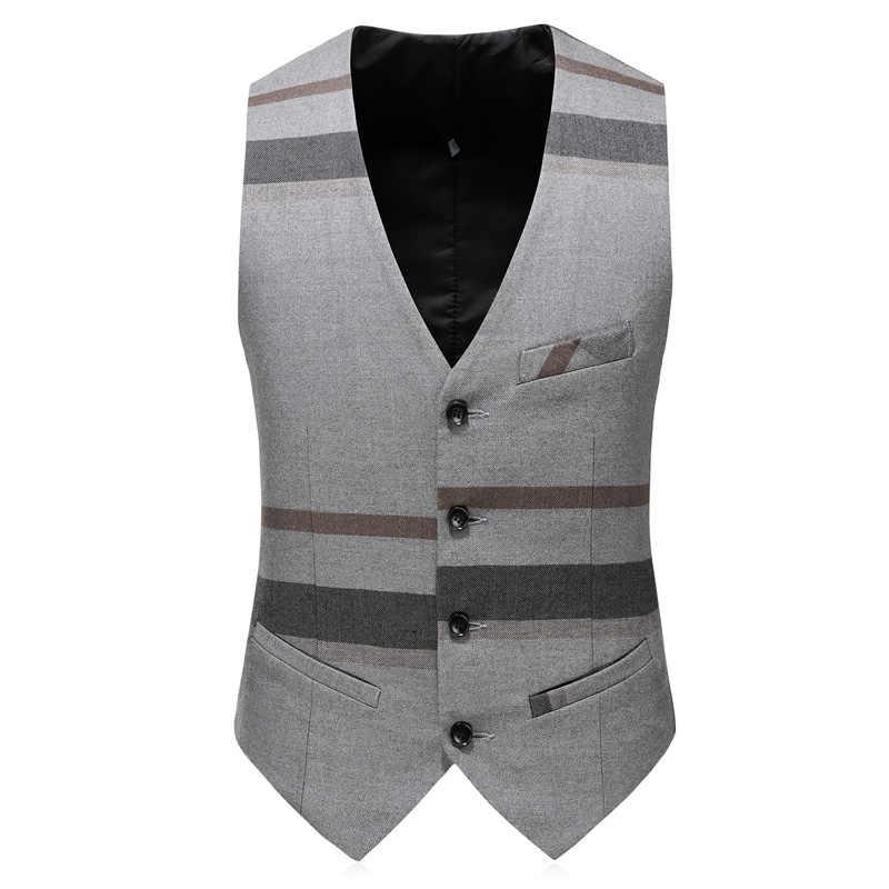 (ジャケット + ベスト + ズボン) 新メンズブティックチェック柄は 2019 セット 3 男性のフォーマルなビジネスカジュアル衣装
