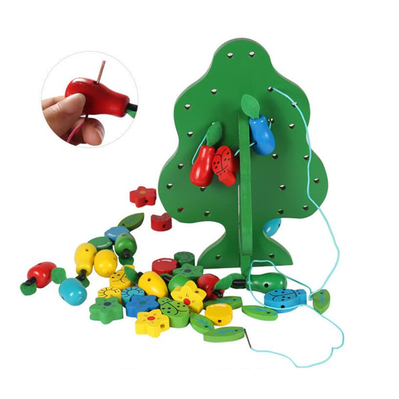 Montessori Toys Children Early Educational Learning Puzzle Wooden Toys Animal Fruit Tree House Stringing Beads Birthday Gift