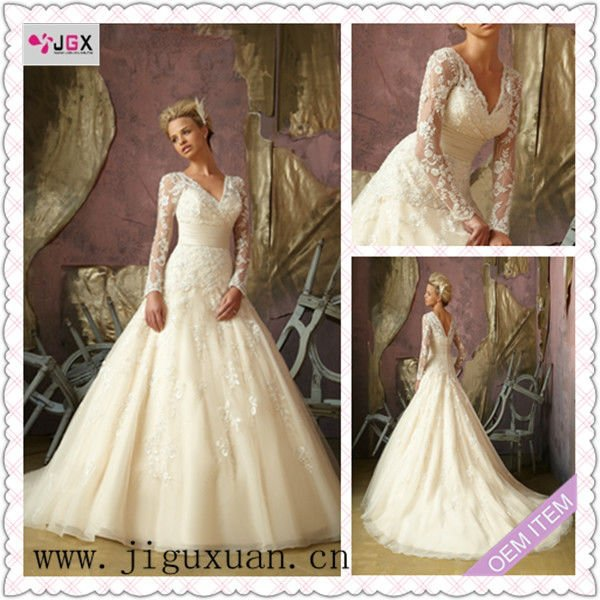 Custom Classic vintage Lace Long Sleeve White/Ivory Wedding Dress ...