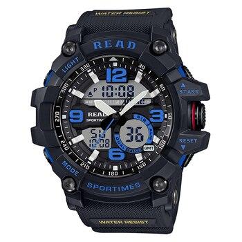 Tezer 90001 Fitness reloj Casual de los Hombres estilo G 30M impermeable deportes militar relojes conmoción Digital de cuarzo смарт часы