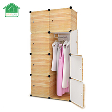 PRWMAN 8-Cube 1-Hook DIY Brown Wooder Grain Piece of Resin Storage Cabinets Bedroom Wardrobe Furniture Assembly Student Wardrobe