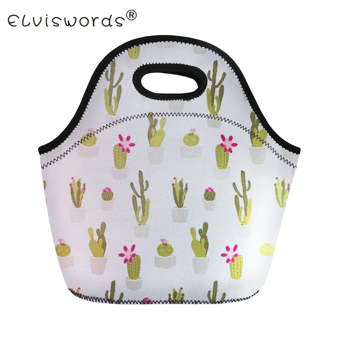 ELVISWORDS Ladies Lunch Bag Women Girls Thermal Insulated Bags Cactus Prints Casual Children Kids Food Cooler Portable Pouch