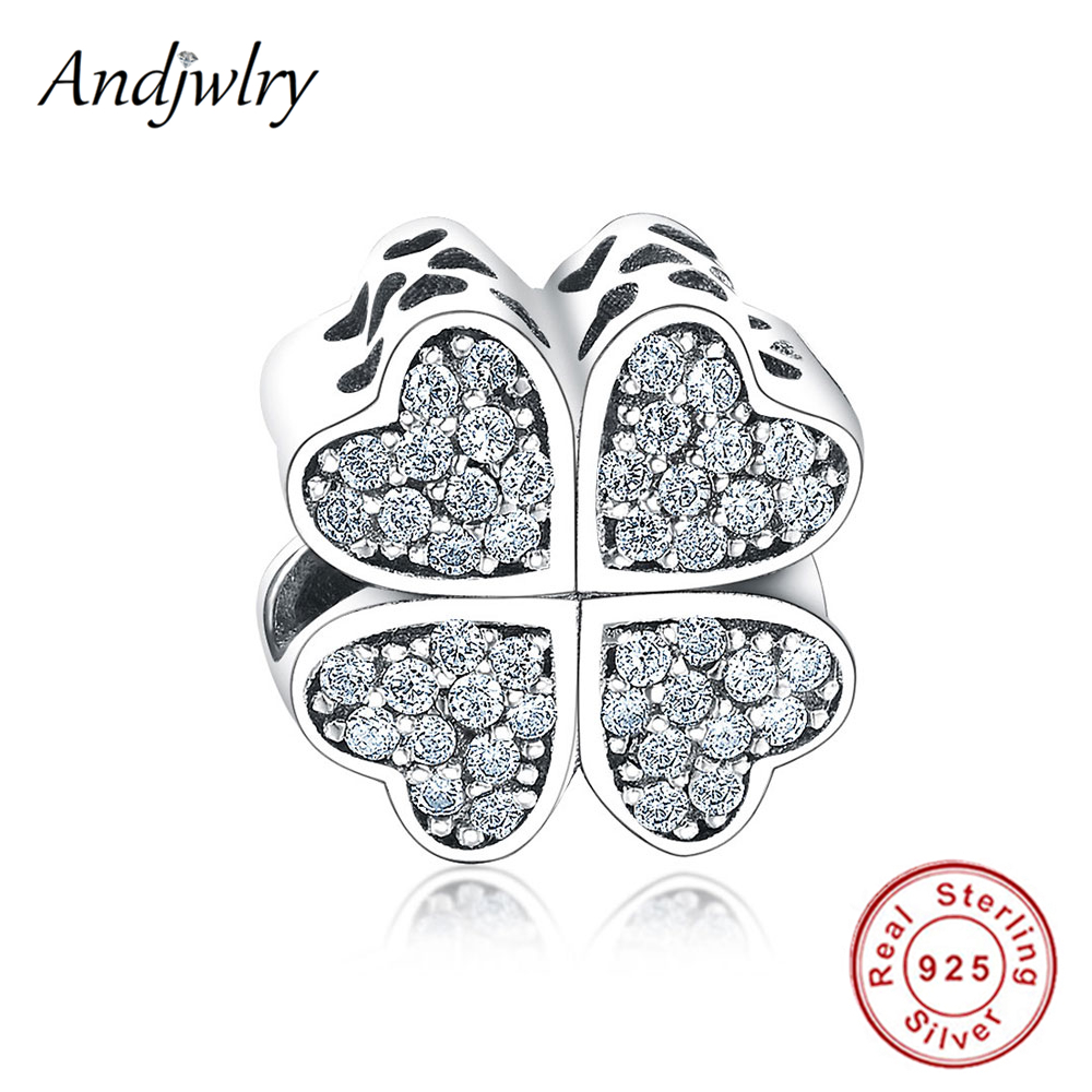 Fit Original Pandora Charms Bracelet Sterling 925 Silver Beads Four Leaf Clover Heart Charms Women DIY Jewelry Making BerloqueFit Original Pandora Charms Bracelet Sterling 925 Silver Beads Four Leaf Clover Heart Charms Women DIY Jewelry Making Berloque