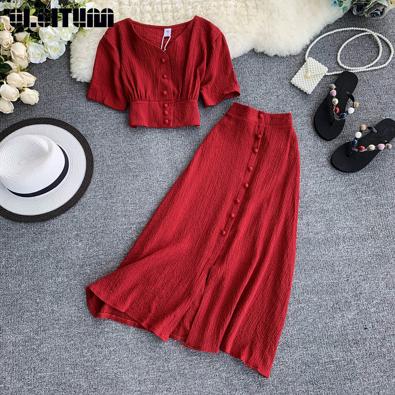 New Fashion Suit Solid Color Simple Single-Breasted Short-Sleeved Short Cropped Blouse Elastic Waist Skirt Two-Piece Sets WS158