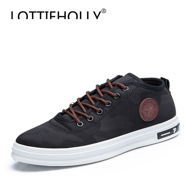 LOTTIEHOLLY Brand New Camouflage Comfort Male Casual Shoes Low Canvas Shoes Men Student Classic Sneakers Footwear Black #MS2063