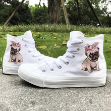 Wen Original Design Canvas Womens Shoes Pug Pet Dog Pink Headband Bowknot High Top Laced White Black Sneakers Mens Skateboard