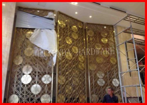 PF009 Movable golden screen divider decorative stainless steel room