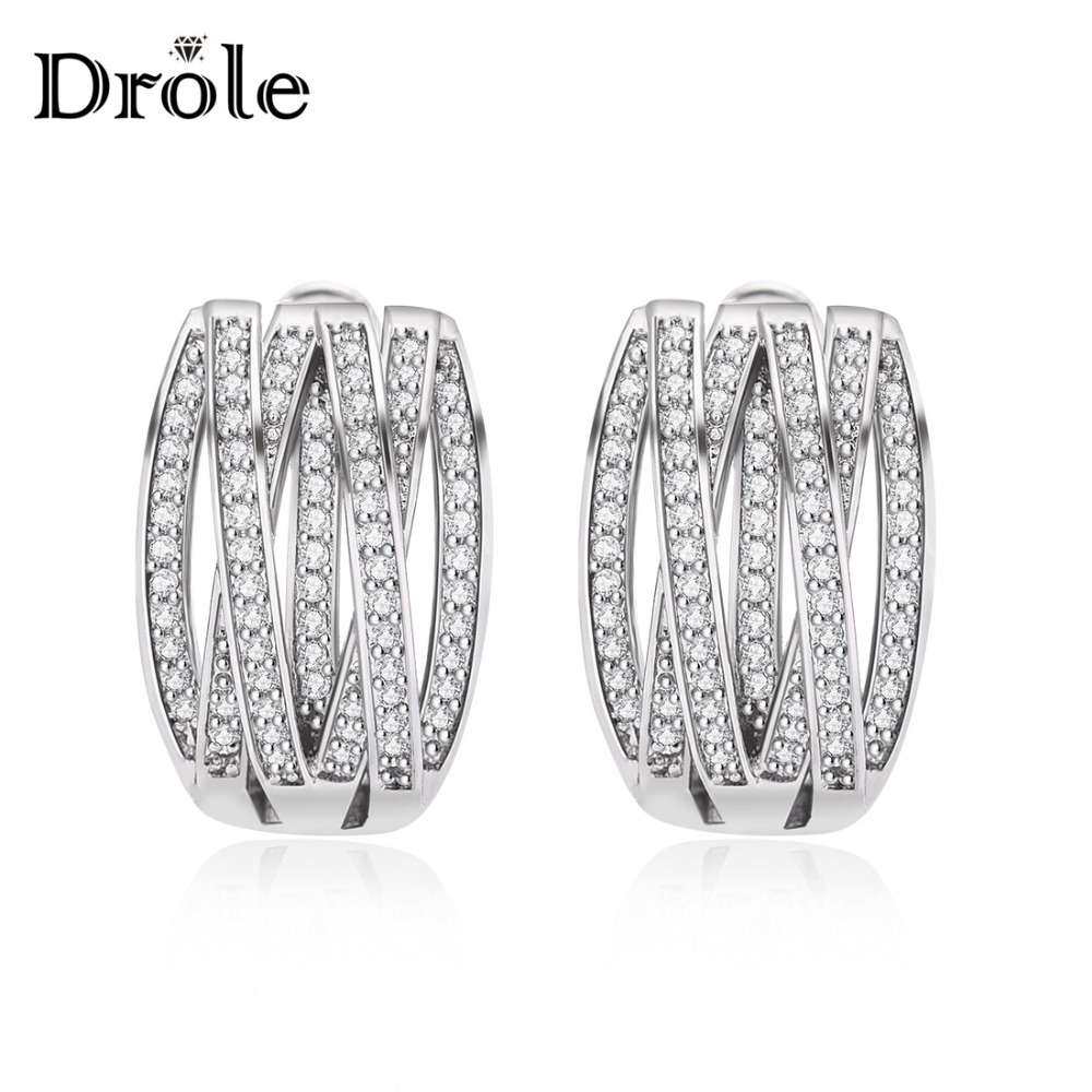 Hot Sale Silver Stud Earrings With Zircon Stone Fashion Women Wedding Engagement Jewelry Valentine's Day Gift