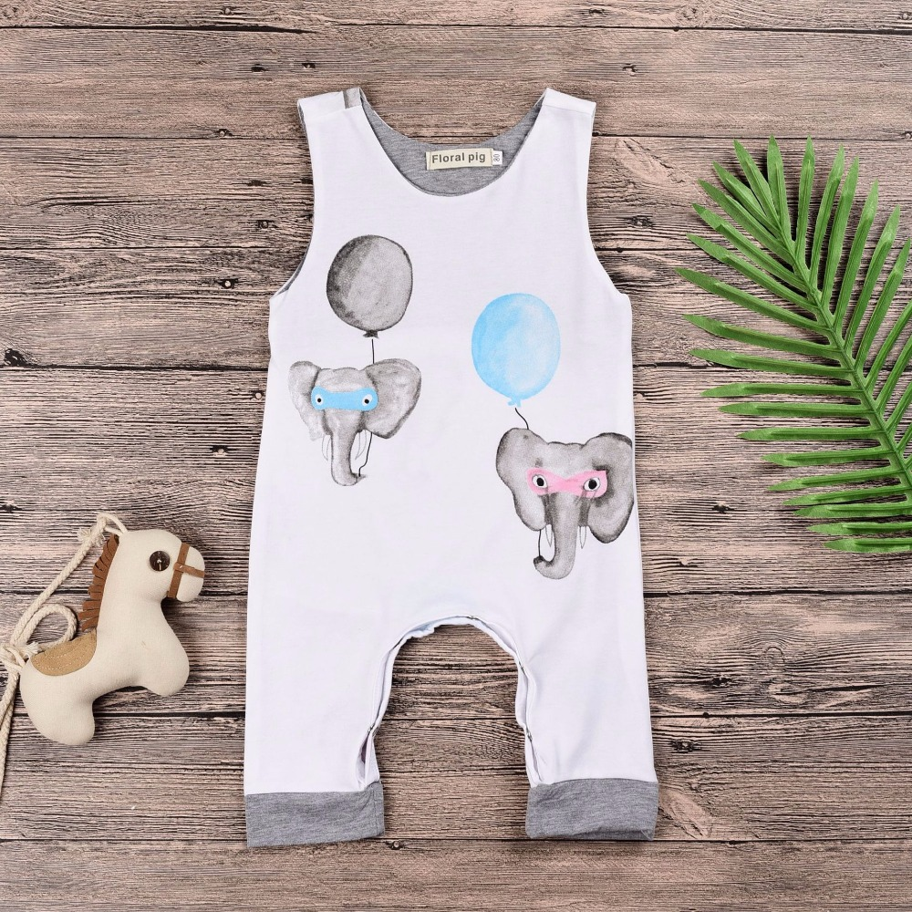 2018 Summer Rompers Cartoon Elephant Balloon Sleeveless Romper For Baby Boy Jumpsuit Baby Overall Trousers Toddler Kids Hot Sale