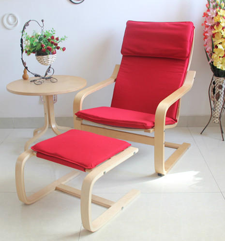 Ikea Chair Recliner Armchair Balcony Lounge Single Fabric Fashion Curved Wooden Chairs Plus Ottoman Roundtable