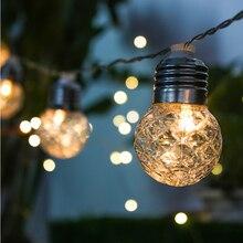 ไฟ LED พลังงานแสงอาทิตย์กันน้ำกลางแจ้งโคมไฟพลังงานแสงอาทิตย์ LED String ไฟ Fairy Garlands สวนคริสต์มาส 3.8M 10LEDS