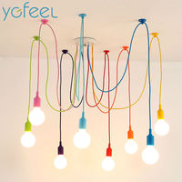 Colorful Pendant Lights 10 Heads Multi Colored Silicone E27 Art Pendant Lights For Modern Bar Restaurant