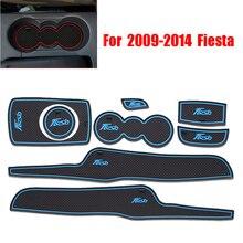 Accessori Per Interni auto di Gomma Auto Luminoso Fessura del Cancello Porta Pad Anti-Slip Supporto di Tazza Zerbino Cuscino Per 2009- 2014 Fiesta