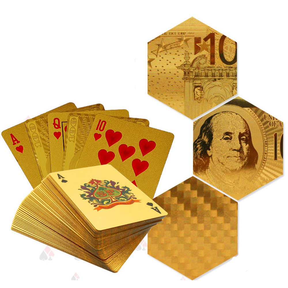 Party game Golden Playing Cards gold foil poker set high quality with wooden box playing cards pokerstars Board Game