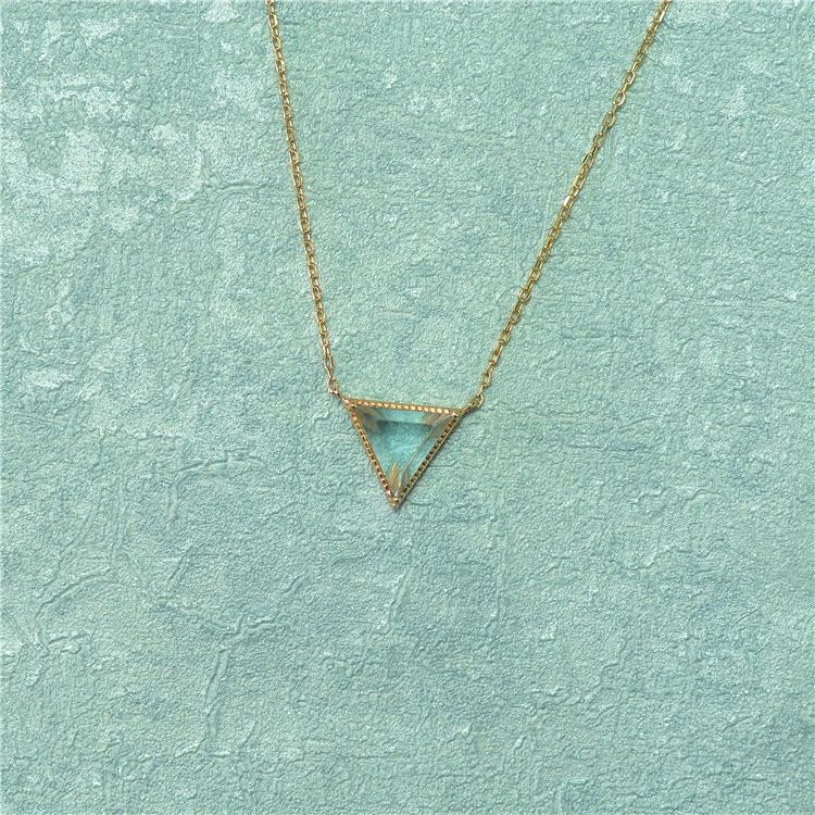 Collier en forme de topaze en cristal naturel 925 collier géométrique Triangle en argent
