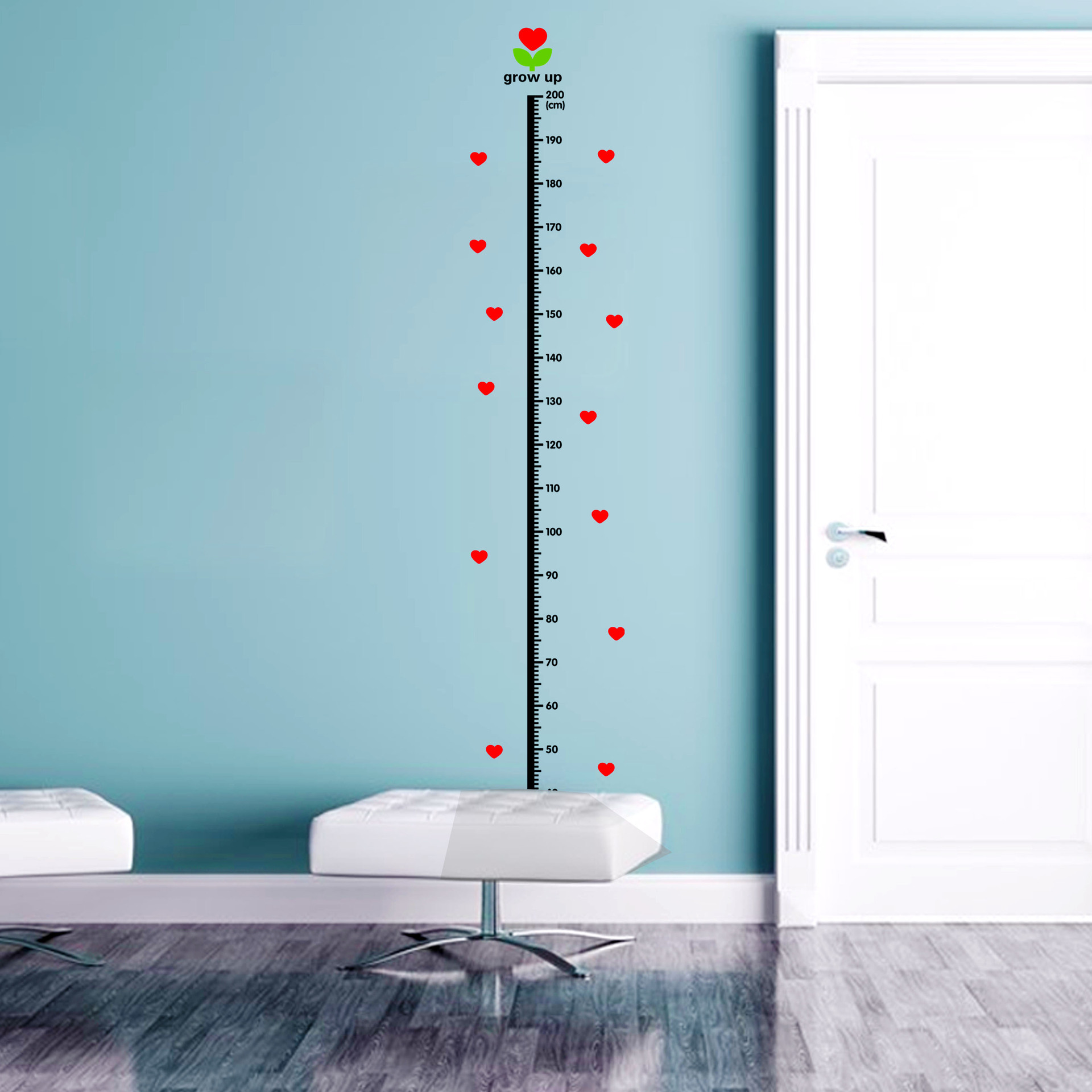 Love Heart Height Measure 20 200cm Wall Stickers Home Decor DIY Simple Chart Ruler Decoration