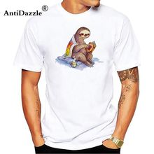 f854a302760 Antidazzle 2018 Newest Men Funny Cute Sloth Design T Shirt Novelty Tops  Lady Live Slow Die. 2 Colors Available