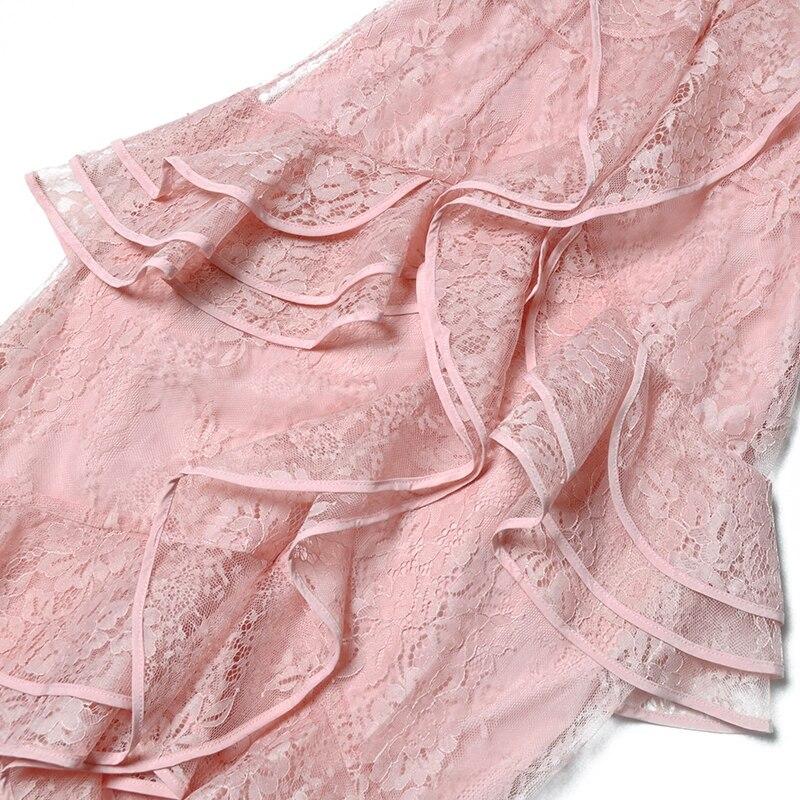 Sehen Orange Prinzessin Rosa Spitzenkleid Frauen Aufflackernhülse Runway Kleid Frühling 2018 Sommer Kleider Rüschen Mantel Reich Kleid - 5