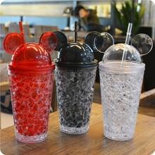 450ml Mickey Zomer Ice Cup Crack Rietjes Smoothie Maker Kleine Frozen Plastic Milkshake Kopjes Iced Dranken Mok