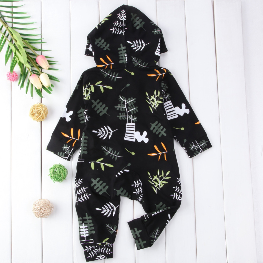 11611cc3ea9 Baby explosion models hooded floral tree printing long sleeve cotton Rompers  Jumpsuit Outfit children clothes Tags