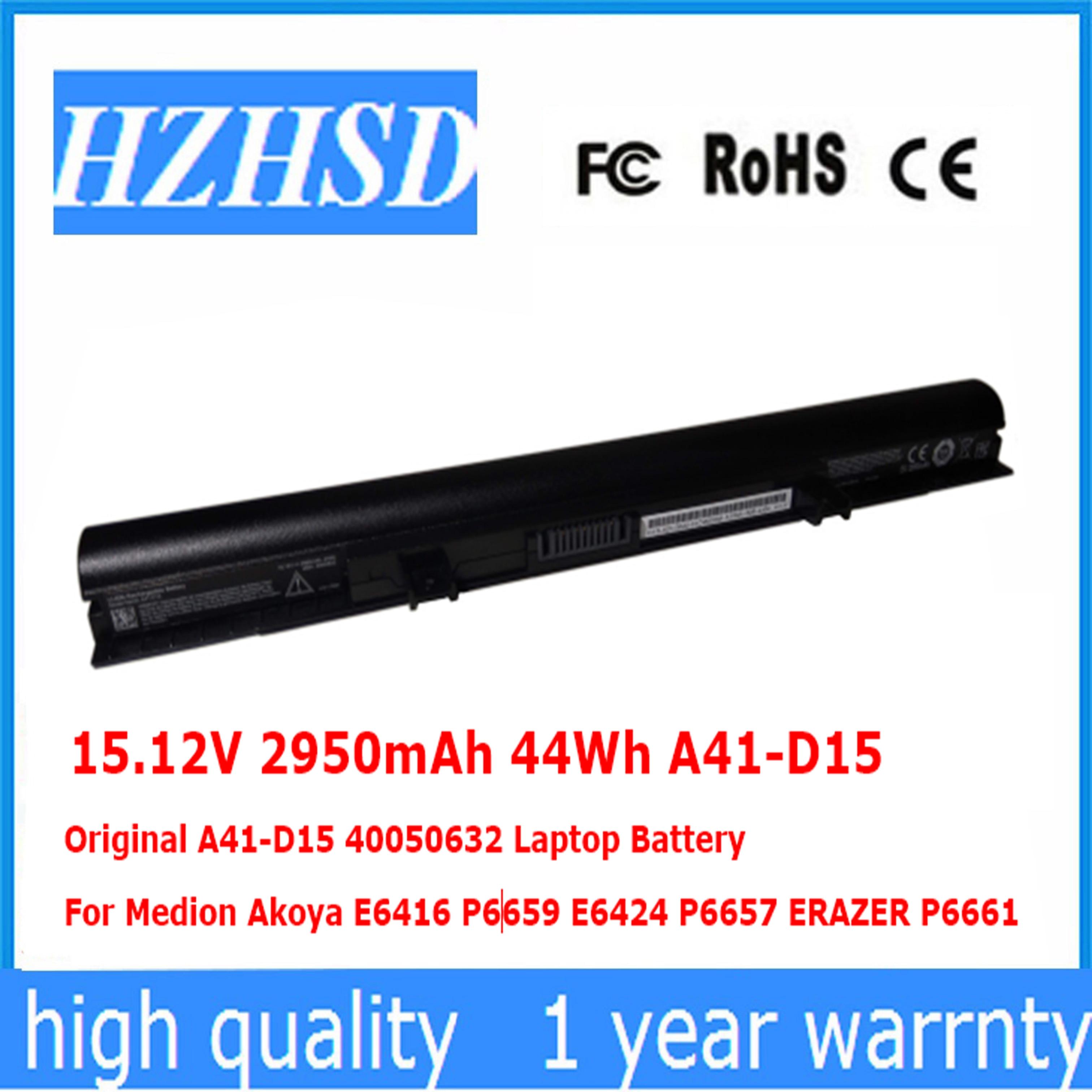 15.12V 2950mAh 44Wh A41 D15 Original A41 D15 40050632 Laptop Battery For Medion Akoya E6416 P6659 E6424 P6657 ERAZER P6661 Laptop Batteries     - title=