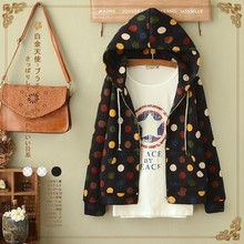 Chinese 2017 Autumn Casual Jacket Women Vintage Loose Hooded Long Sleeve Sweet Color Print Mori Girl Coats Cotton