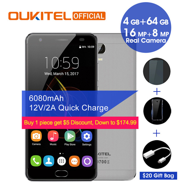"Oukitel K6000 Plus Android 7.0 MTK6750T Octa Core 4G RAM 64G ROM 5.5"" FHD 6080mAh Fingerprint 12V/2A Quick Charge Smartphone"